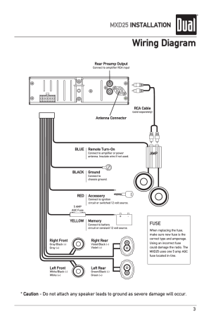 Wiring diagram, Mxd25 installation, Fuse | Dual MXD25 User Manual | Page 3  12