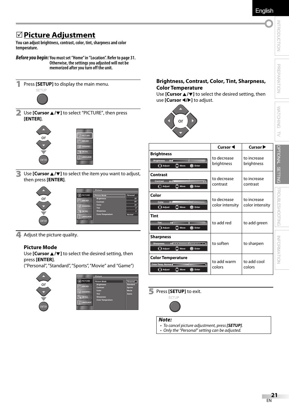 English español français, 5 picture adjustment, Before you