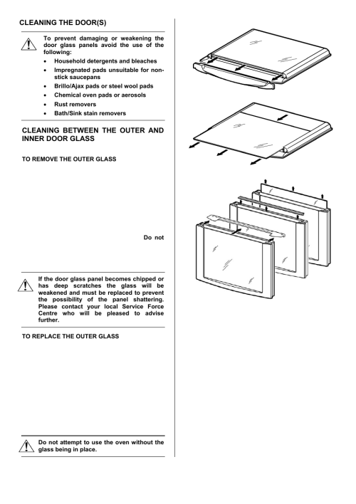 small resolution of 40 cleaning the door s cleaning between the outer and inner door glass electrolux u28003 ekt6045 user manual page 40 48