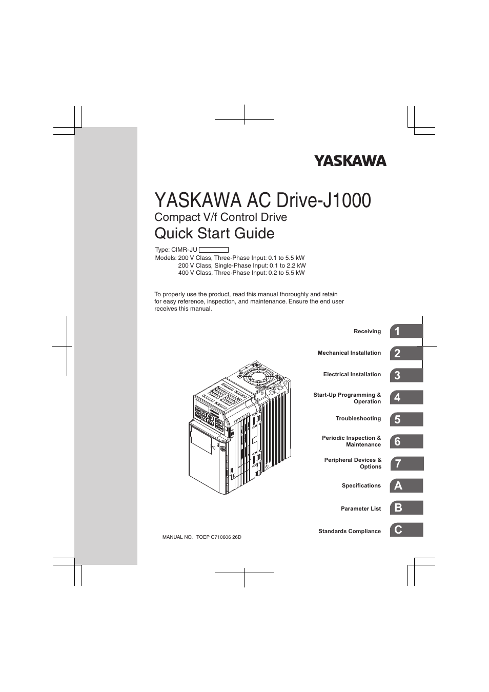 yaskawa j1000 wiring diagram 1977 ct70 compact v f control drive user manual 274 pages