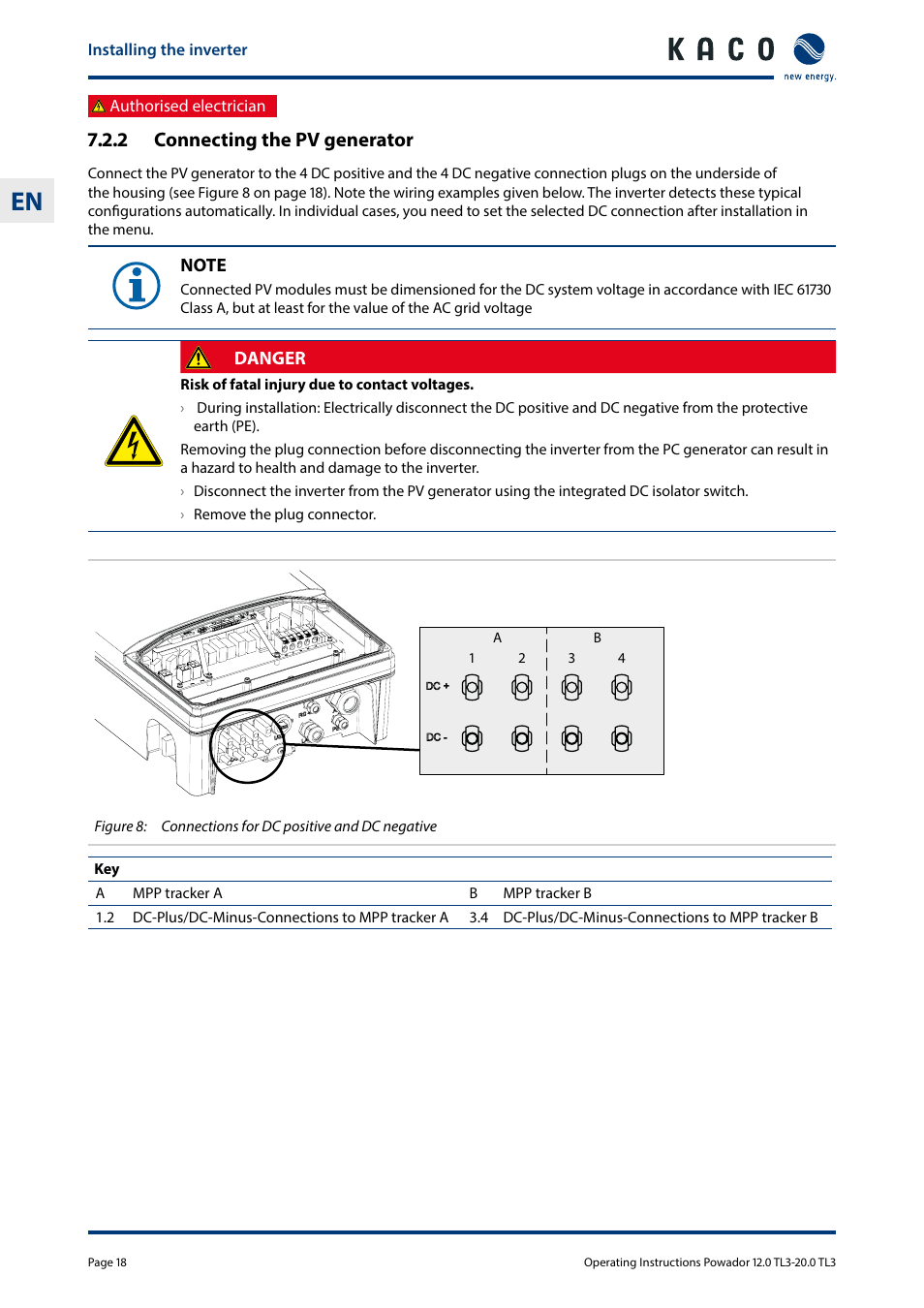 hight resolution of 2 connecting the pv generator kaco powador 10 0 20 0 tl3 user manual page 18 56