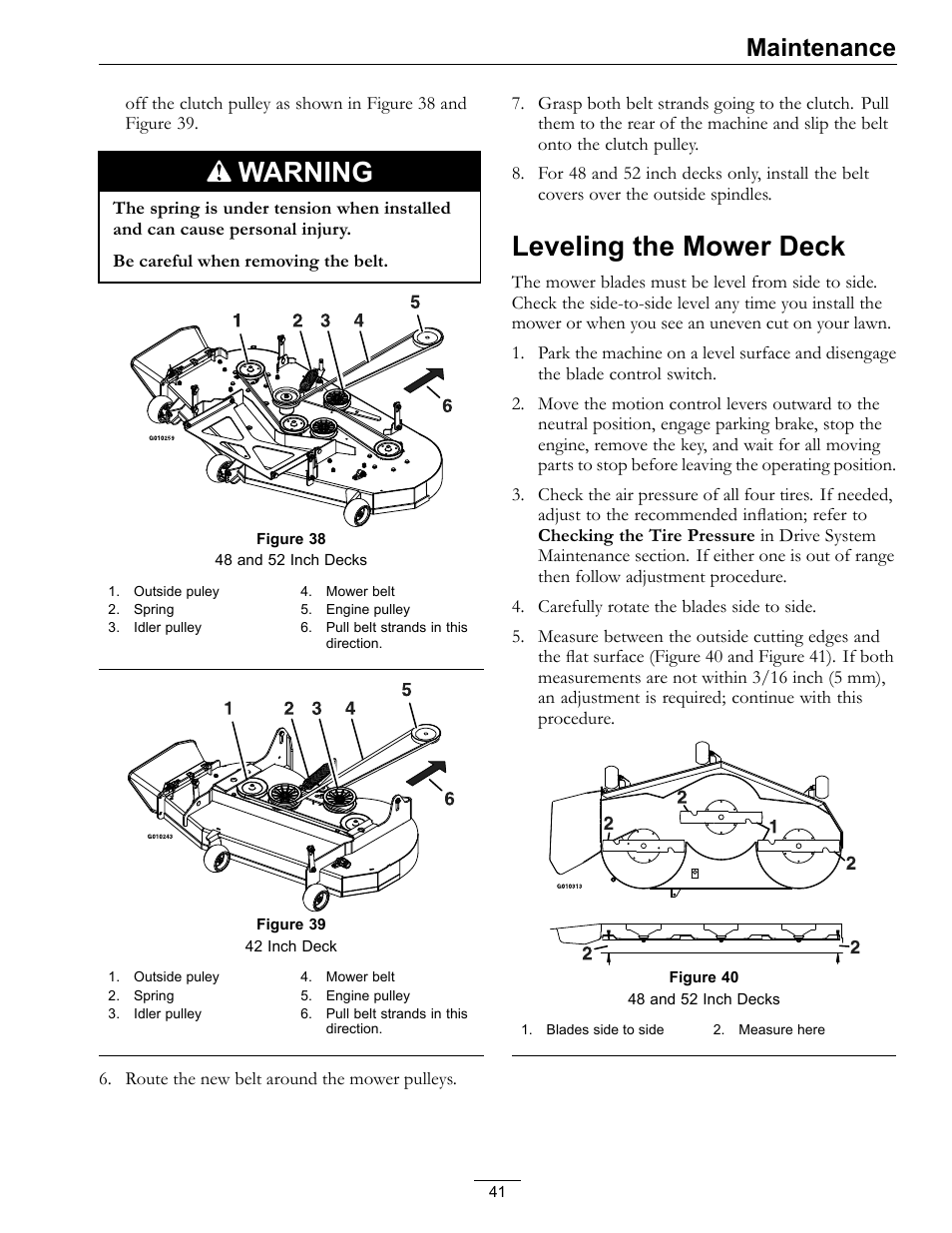 hight resolution of leveling the mower deck warning maintenance exmark quest 4500 450 user manual page 41 56
