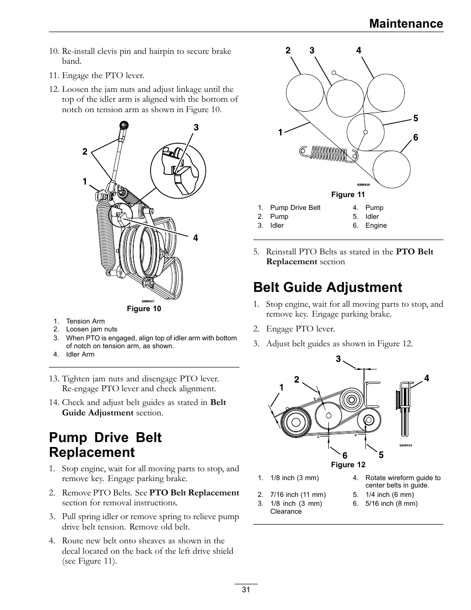 medium resolution of pump drive belt replacement belt guide adjustment maintenance exmark navigator 0 user manual page 31 48