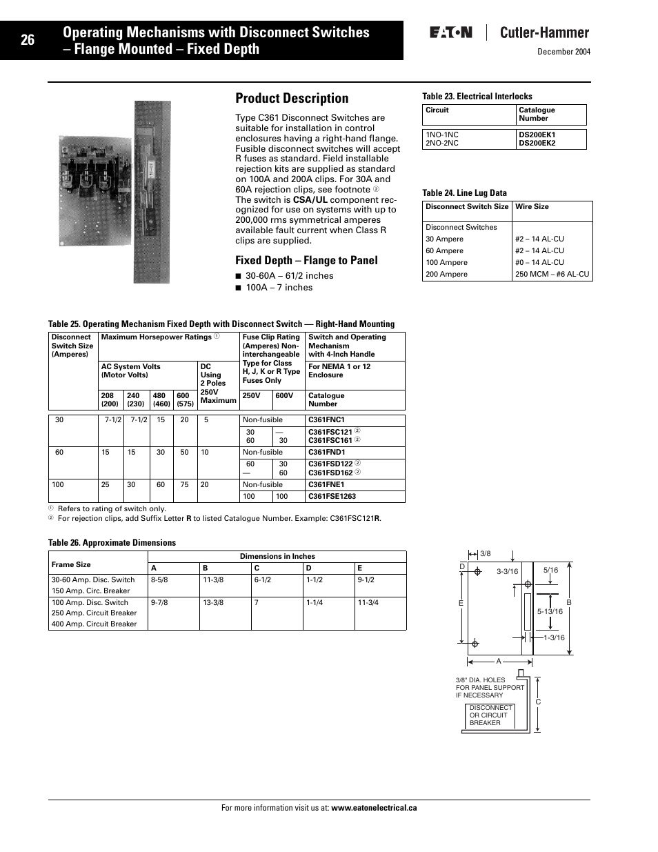 C361 fixed depth disconnects, Product description, Fixed