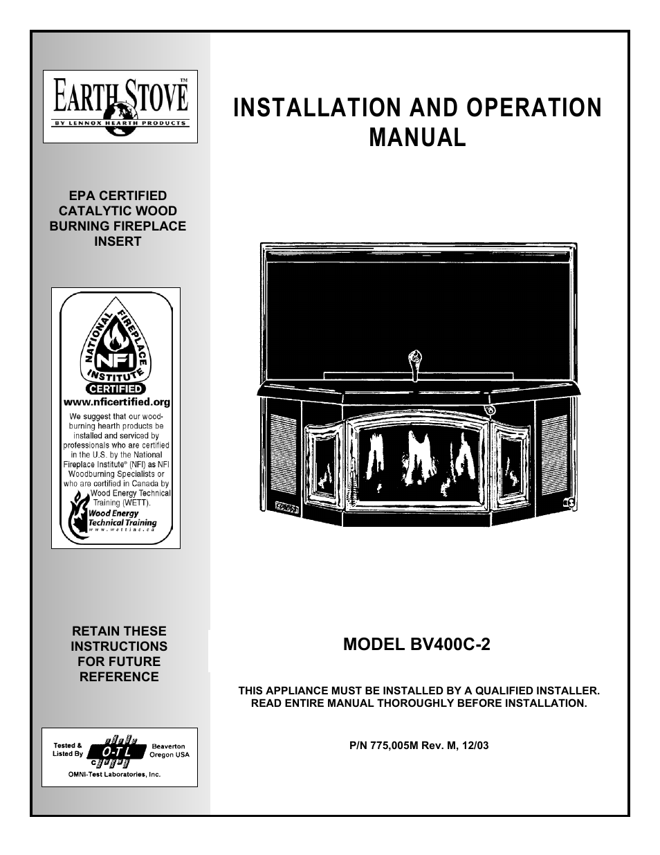 EarthStone EARTH STOVE BV400C2 User Manual  28 pages