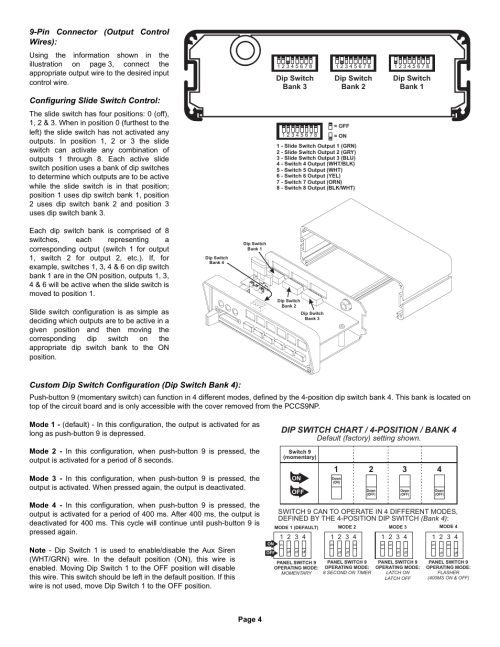 small resolution of dip switch chart 4 position bank 4 pin connector output control