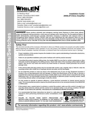 Whelen 295SLSA6 User Manual | 6 pages