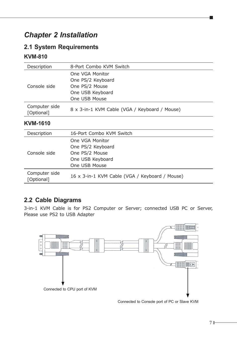 hight resolution of chapter 2 installation 1 system requirements 2 cable diagrams planet kvm 1610 user manual page 7 20