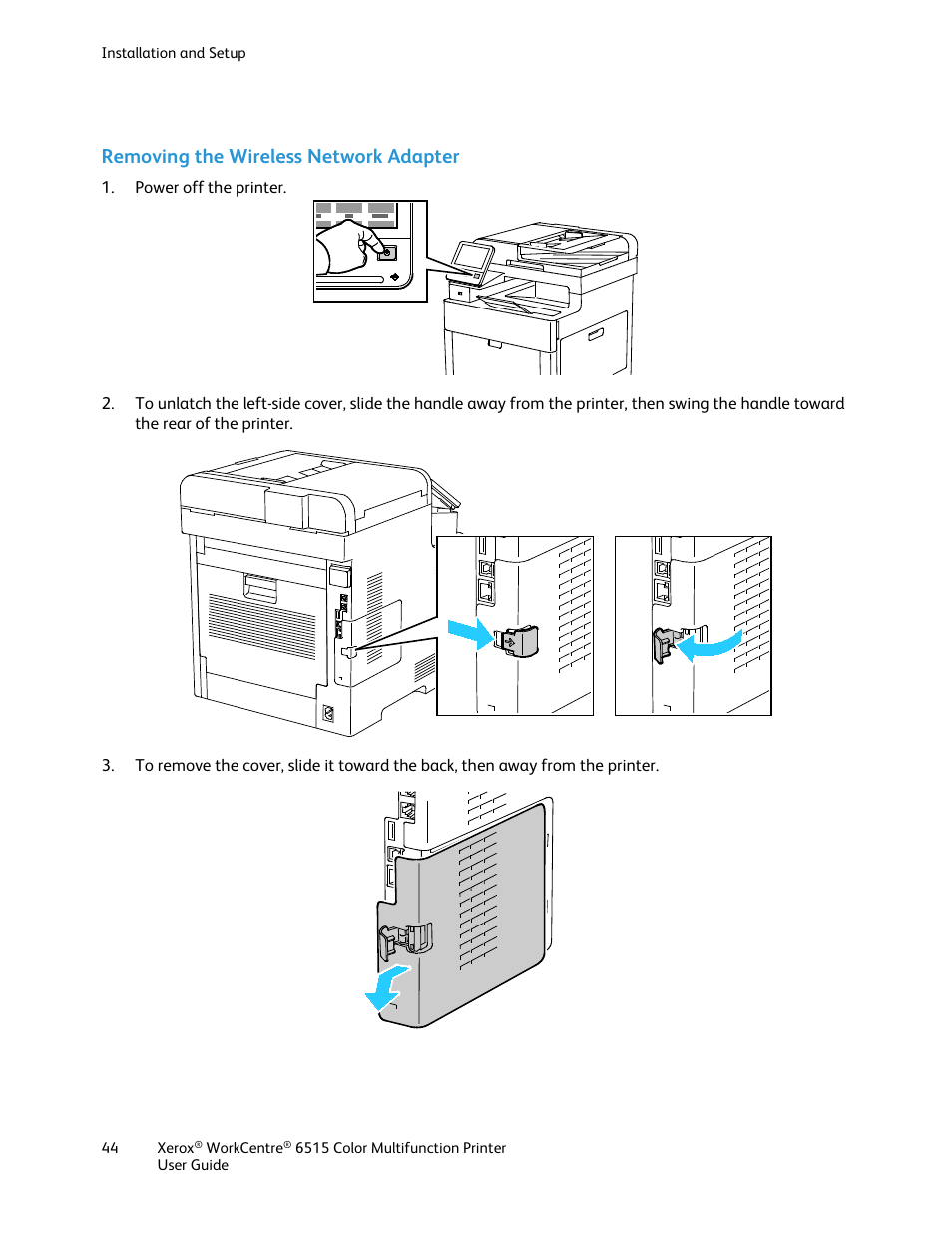 medium resolution of removing the wireless network adapter e 44 xerox workcentre 6515dni user manual