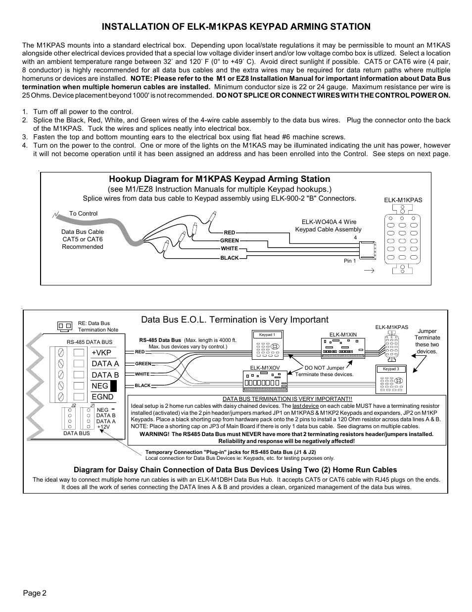hight resolution of installation of elk m1kpas keypad arming station data bus e o l termination is very important hookup diagram for m1kpas keypad arming station elk