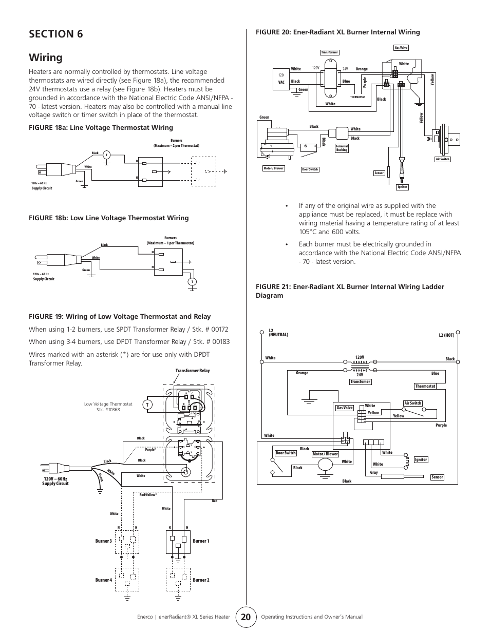 medium resolution of figure 18b low line voltage thermostat wiring figure 20 ener radiant xl