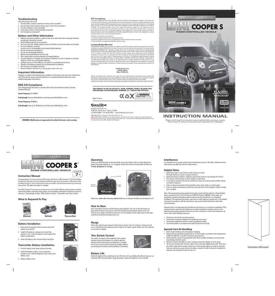Excalibur electronic Mini Cooper S 1:20 Scale Radio