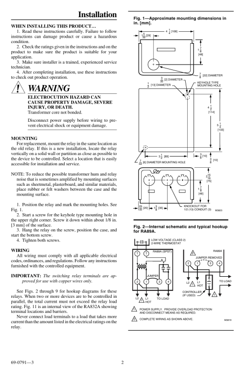 small resolution of warning installation honeywell tradeline r845a user manual page 2 4