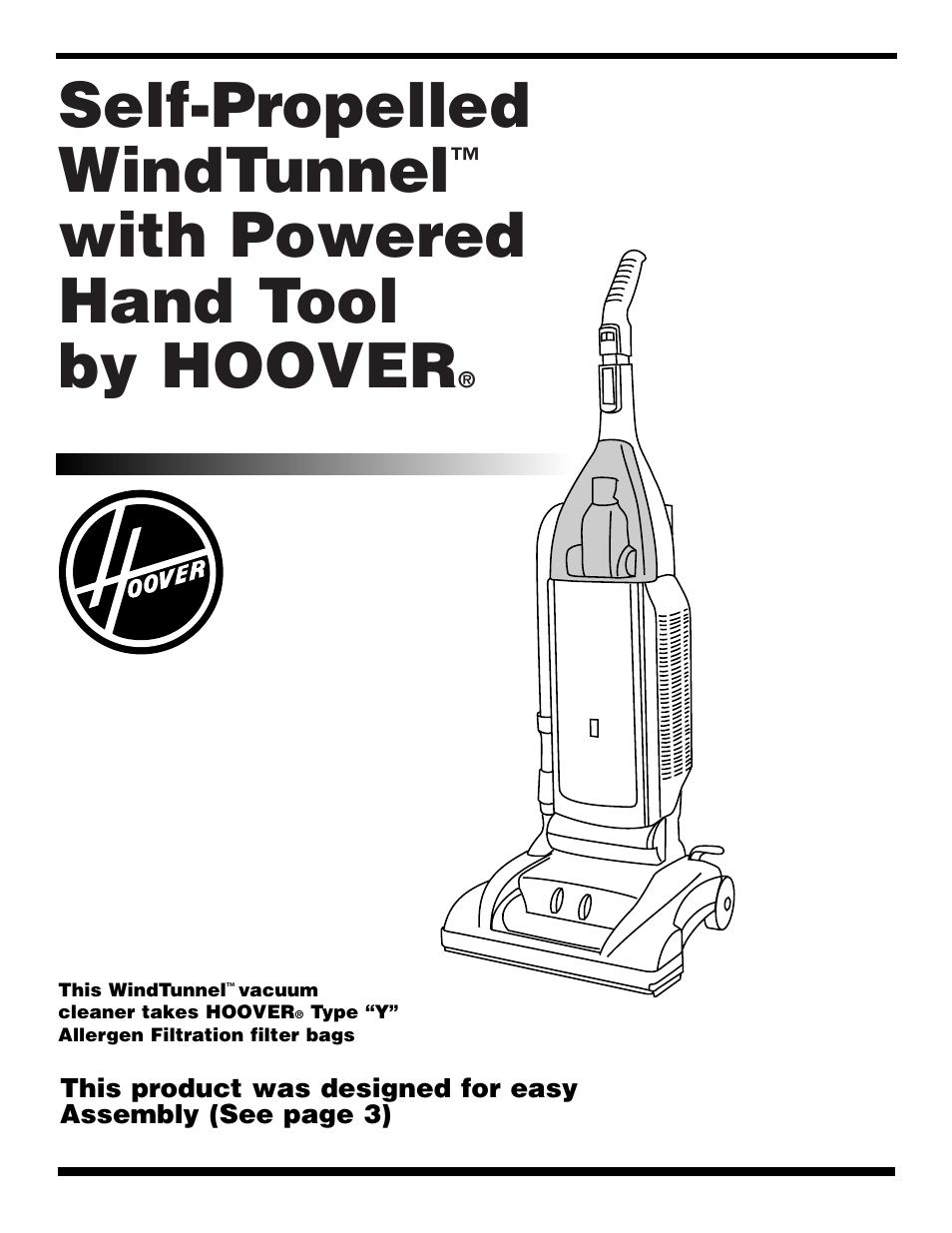 Hoover WindTunnel Wind Tunnel vacuum cleaner User Manual