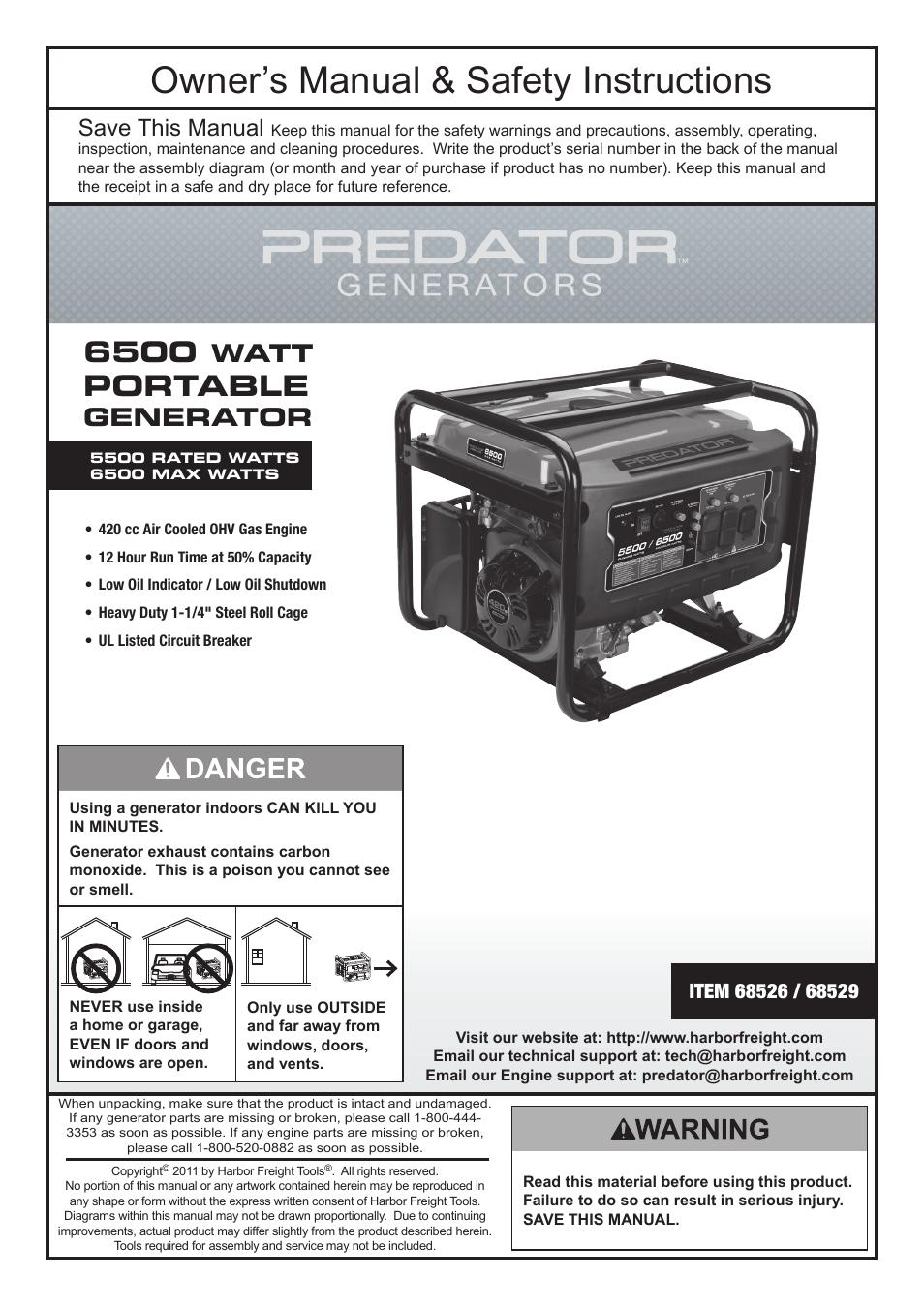 medium resolution of harbor freight tools predator 6500 watt portable generator 68526 user manual 24 pages