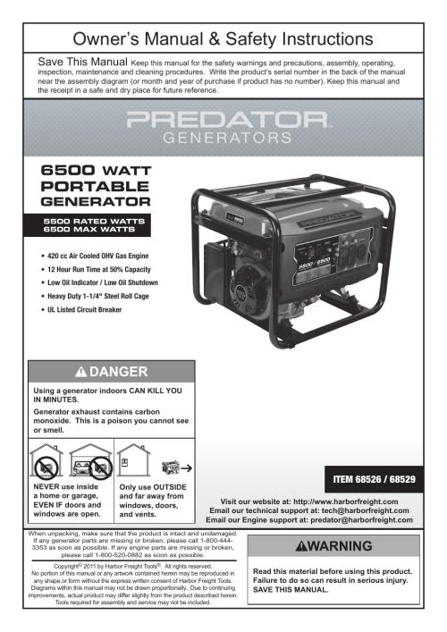 small resolution of harbor freight tools predator 6500 watt portable generator 68526 user manual 24 pages