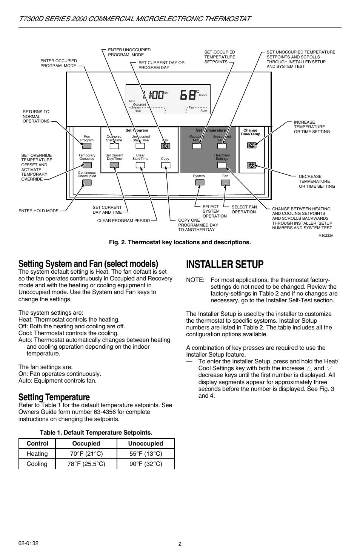 Installer setup, Setting system and fan (select models