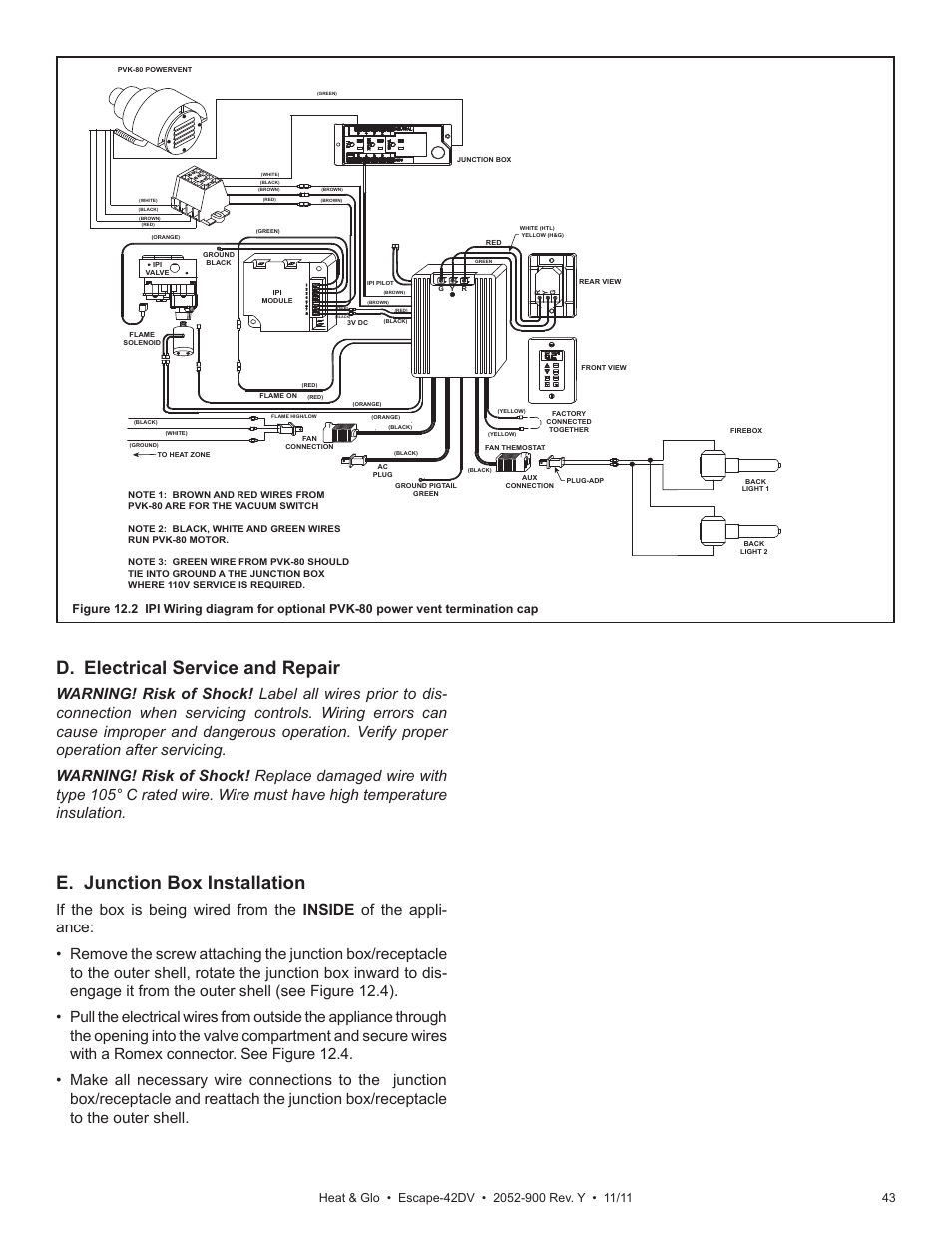 medium resolution of d electrical service and repair e junction box installation heat glo fireplace heat glo escape 42dv user manual page 43 61