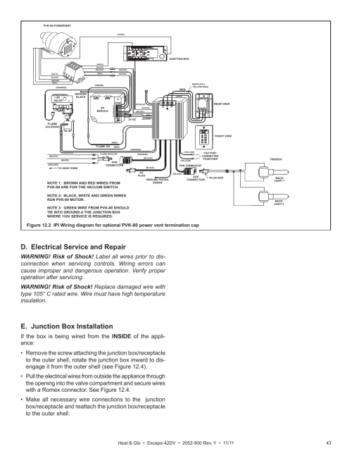 small resolution of d electrical service and repair e junction box installation heat glo fireplace heat glo escape 42dv user manual page 43 61