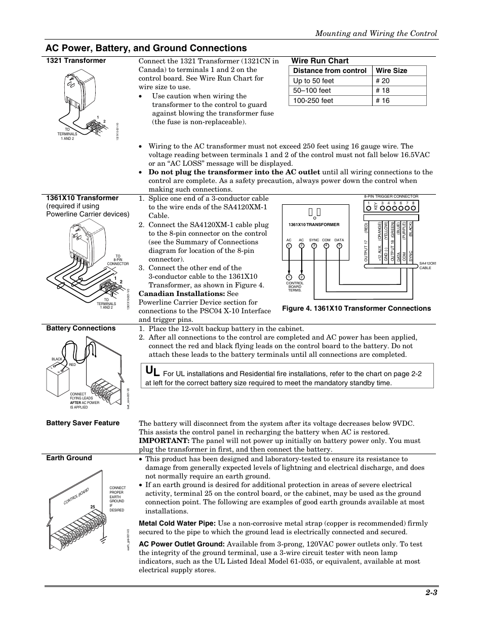 hight resolution of ac power battery and ground connections wire run chart mounting and wiring the control 2 3 honeywell vista 20p user manual page 9 80