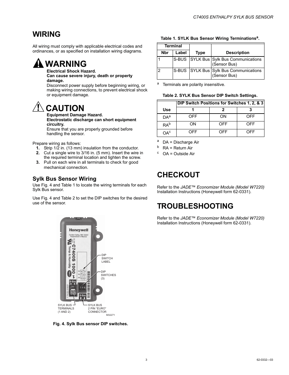 hight resolution of wiring checkout troubleshooting honeywell enthalpy sylk bus sensor c7400s user manual page 3 4
