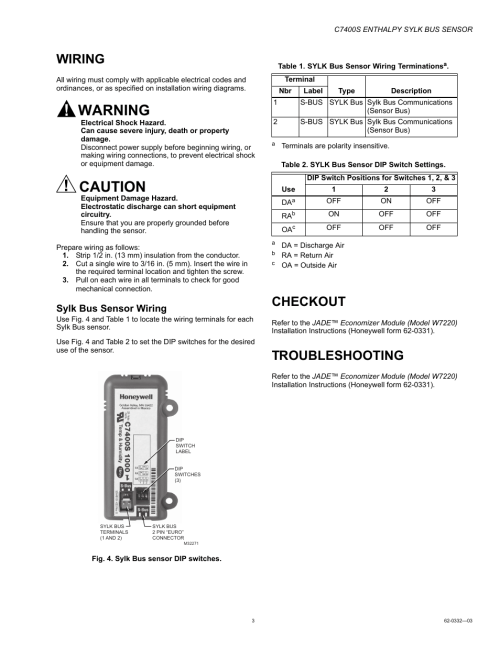 small resolution of wiring checkout troubleshooting honeywell enthalpy sylk bus sensor c7400s user manual page 3 4