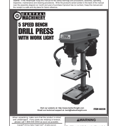 harbor freight tools central machinery 5 speed bench drill press with work light 60238 user manual 16 pages [ 954 x 1324 Pixel ]