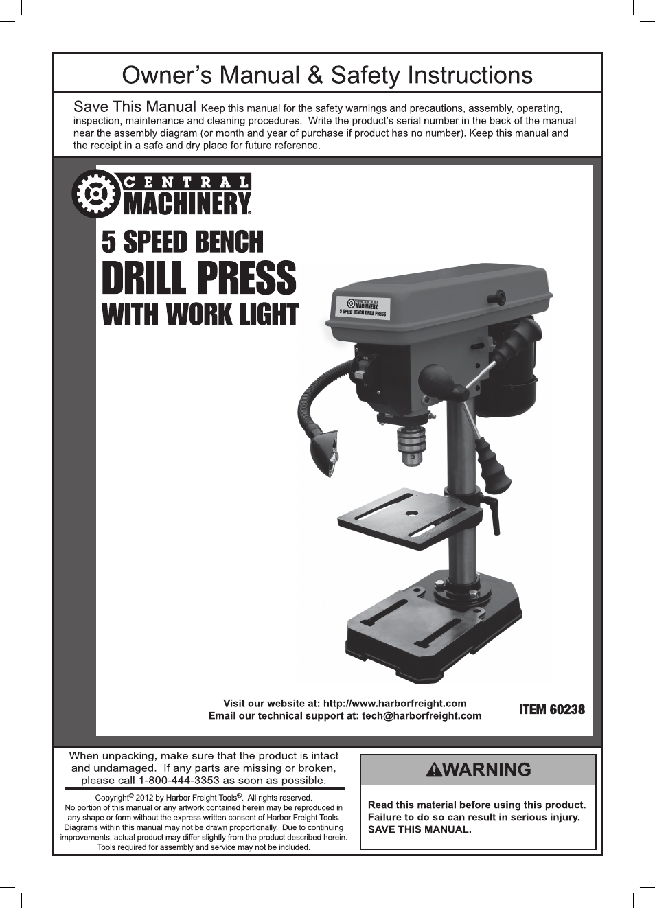 hight resolution of harbor freight tools central machinery 5 speed bench drill press with work light 60238 user manual 16 pages