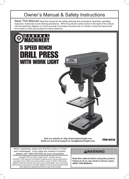 small resolution of harbor freight tools central machinery 5 speed bench drill press with work light 60238 user manual 16 pages
