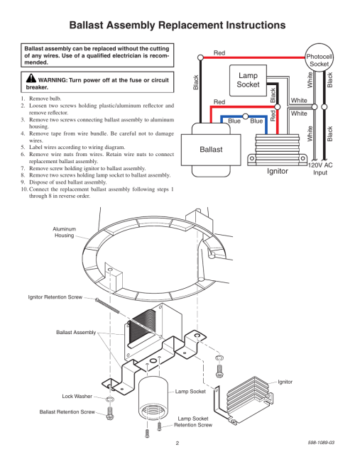 small resolution of ballast assembly replacement instructions lamp socket ballast high pressure sodium lamp wiring diagram