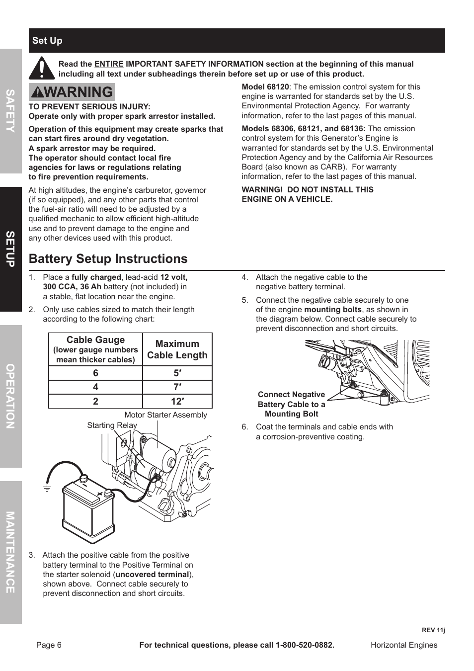 Battery setup instructions, Safety opera tion maintenance