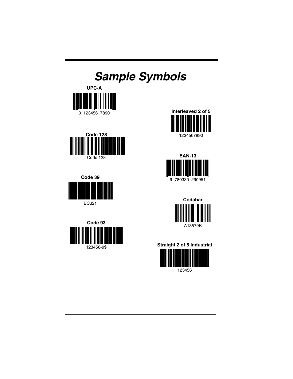 Sample symbols, Scanning a bar code from the, Sample