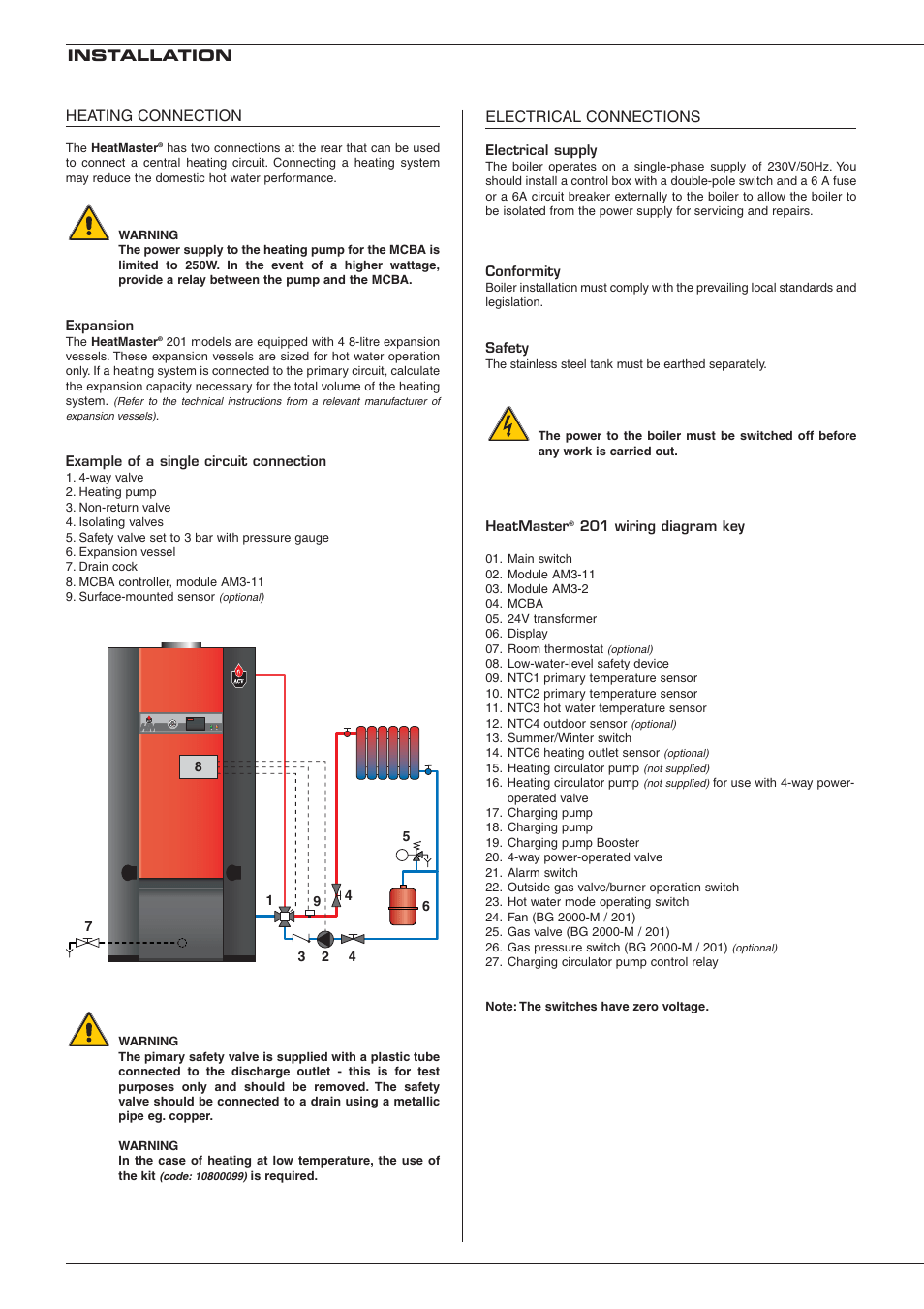 hight resolution of electrical connections installation heating connection heatmaster 201 user manual page 12 28