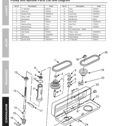 pulley and spindle parts list and diagram safety opera tion maintenance setup parts lists and diagrams harbor freight tools central machinery 13 bench  [ 954 x 1324 Pixel ]