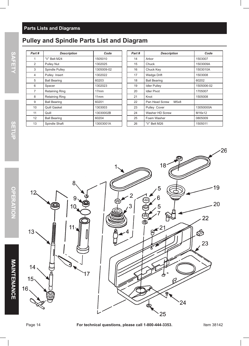 medium resolution of pulley and spindle parts list and diagram safety opera tion maintenance setup parts lists and diagrams harbor freight tools central machinery 13 bench