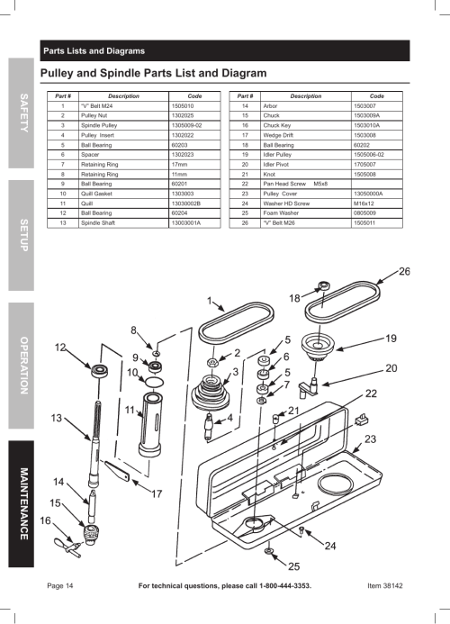 small resolution of pulley and spindle parts list and diagram safety opera tion maintenance setup parts lists and diagrams harbor freight tools central machinery 13 bench