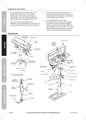Functions, Safety opera tion maintenance setup | Harbor Freight Tools Central Machinery 13