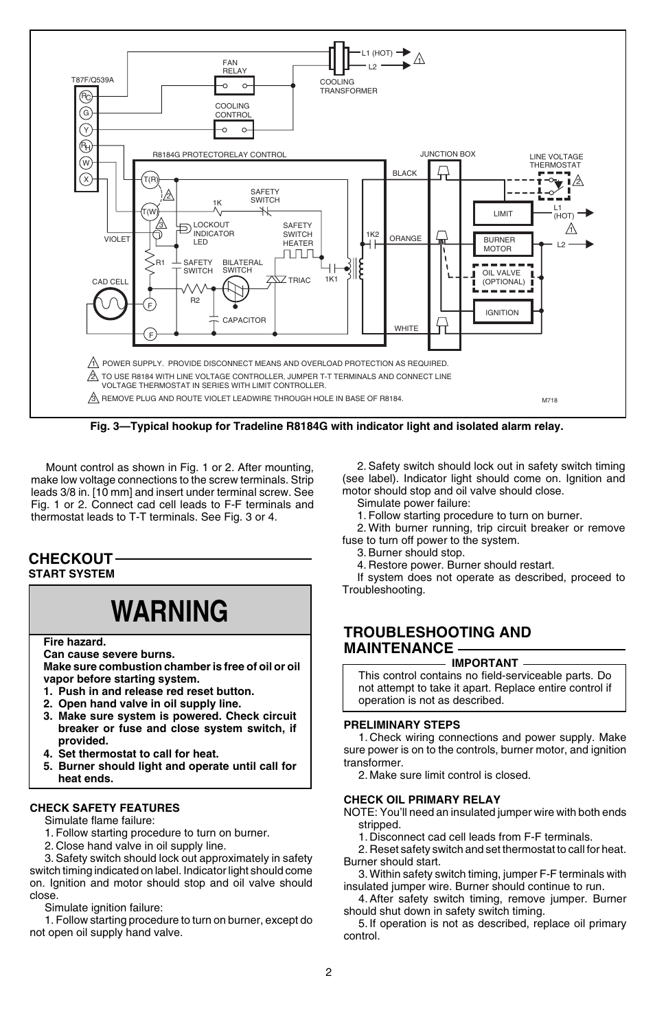 hight resolution of warning troubleshooting and maintenance checkout honeywell protectorelay r8184g user manual page 2 4