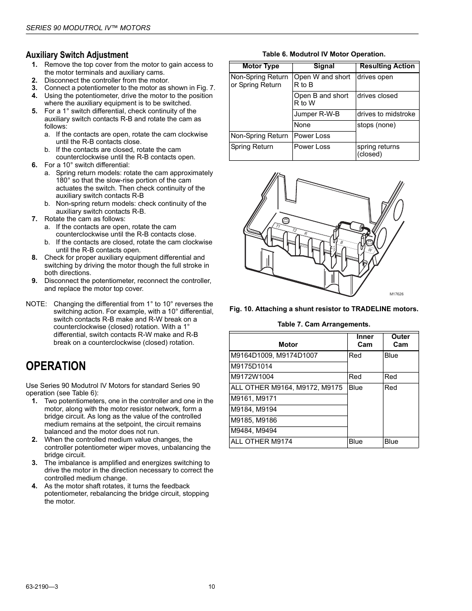 medium resolution of operation auxiliary switch adjustment honeywell modutrol iv motors series 90 user manual page 10 12