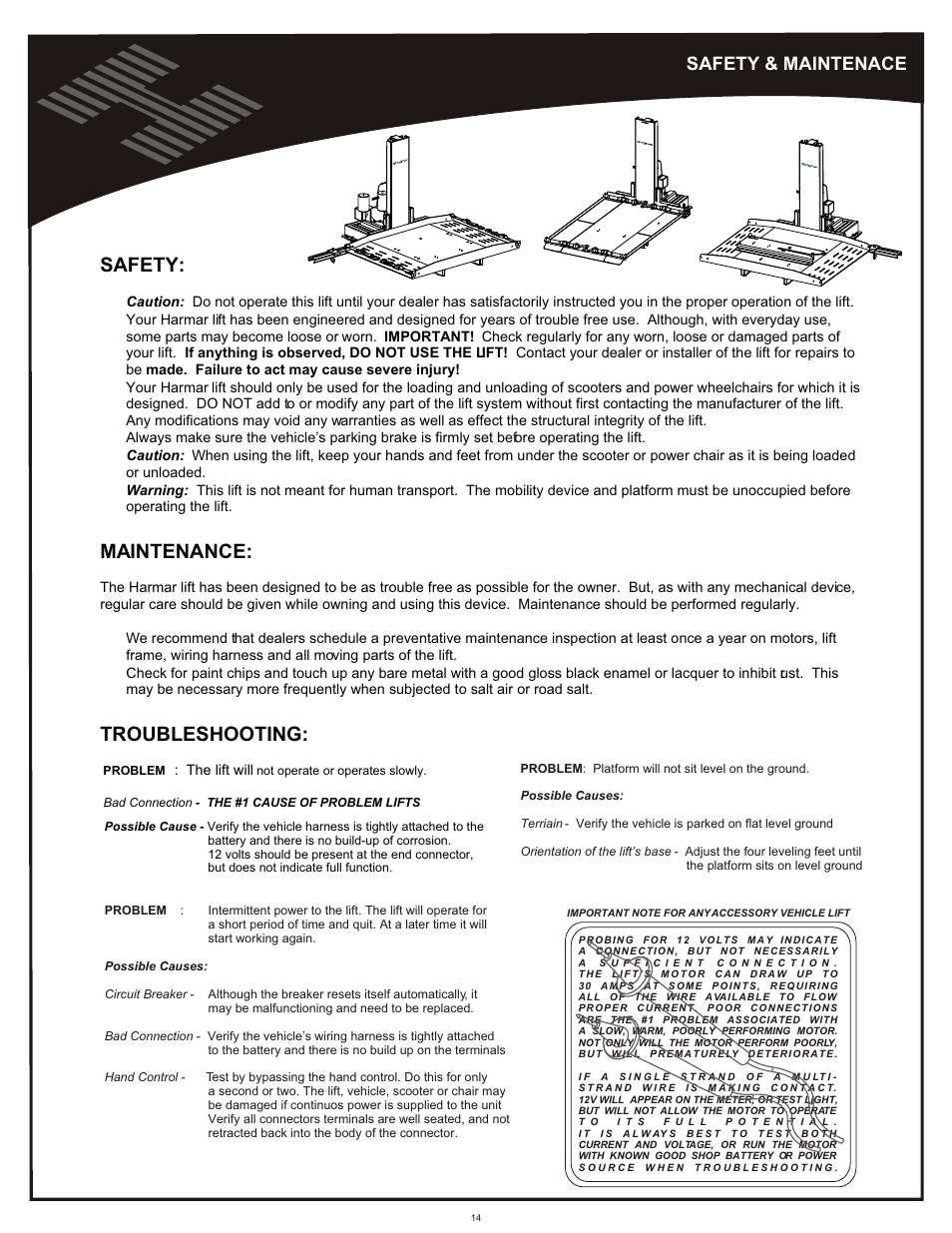 medium resolution of safety maintenance safety maintenance harmar mobility al600 user manual page 14 20