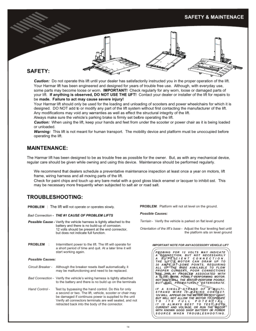 small resolution of safety maintenance safety maintenance harmar mobility al600 user manual page 14 20