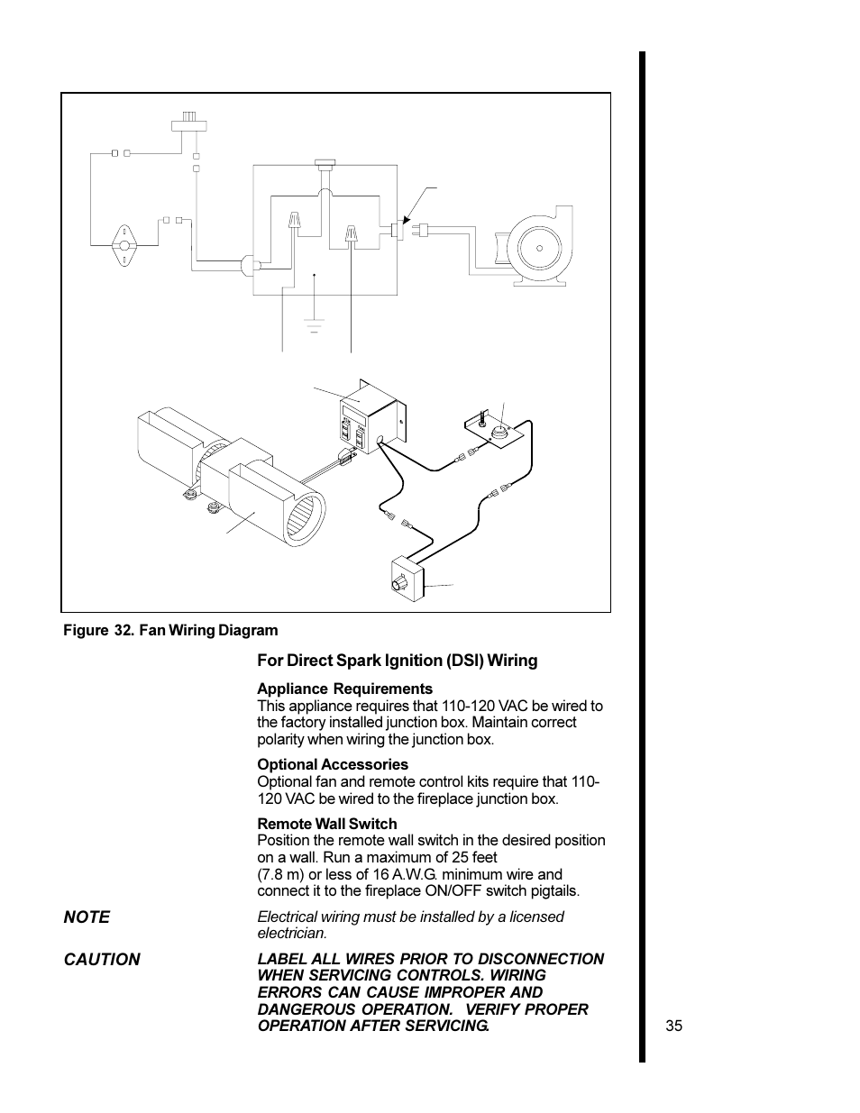 hight resolution of for direct spark ignition dsi wiring caution 35 figure 32 fan wiring diagram heat glo fireplace heat n glo 6000xlt cdn user manual page 35 43