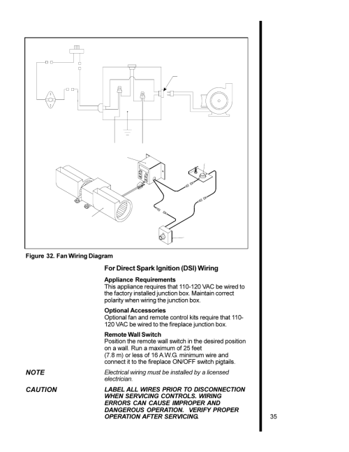 small resolution of for direct spark ignition dsi wiring caution 35 figure 32 fan wiring diagram heat glo fireplace heat n glo 6000xlt cdn user manual page 35 43