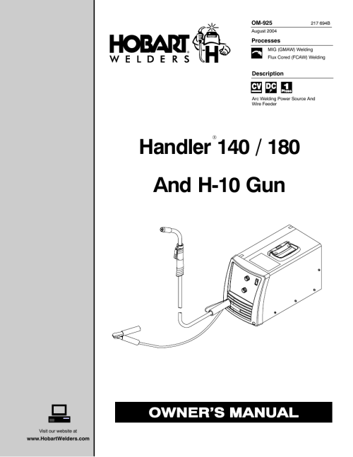 small resolution of hobart welding products handler 140 user manual 52 pages also for handler h 10 gun handler 180