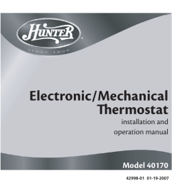 hunter fan 40170 user manual 33 pages hunter thermostat wiring diagram 44377 hunter 40170 thermostat wiring diagram fan [ 954 x 886 Pixel ]