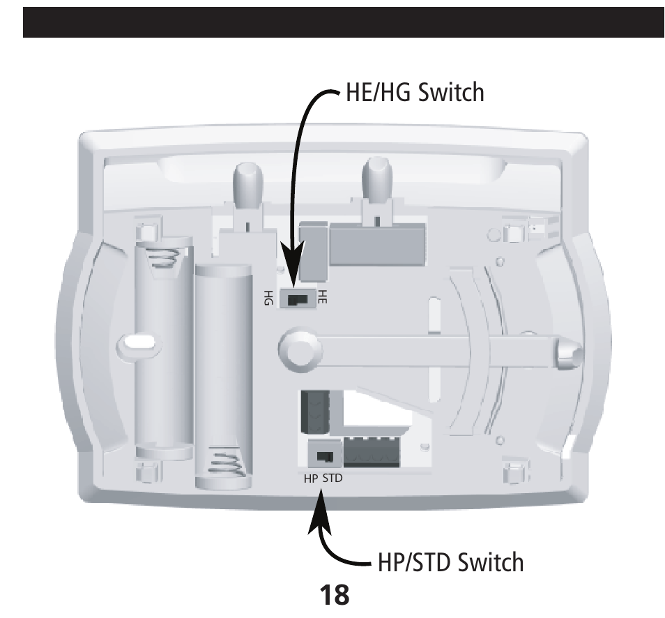 medium resolution of he hg switch hp std switch installing the thermostat cont hunter hunter 40170 thermostat wiring diagram fan