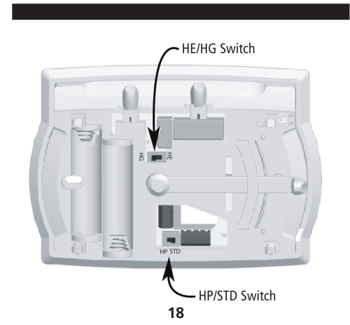 small resolution of he hg switch hp std switch installing the thermostat cont hunter hunter 40170 thermostat wiring diagram fan