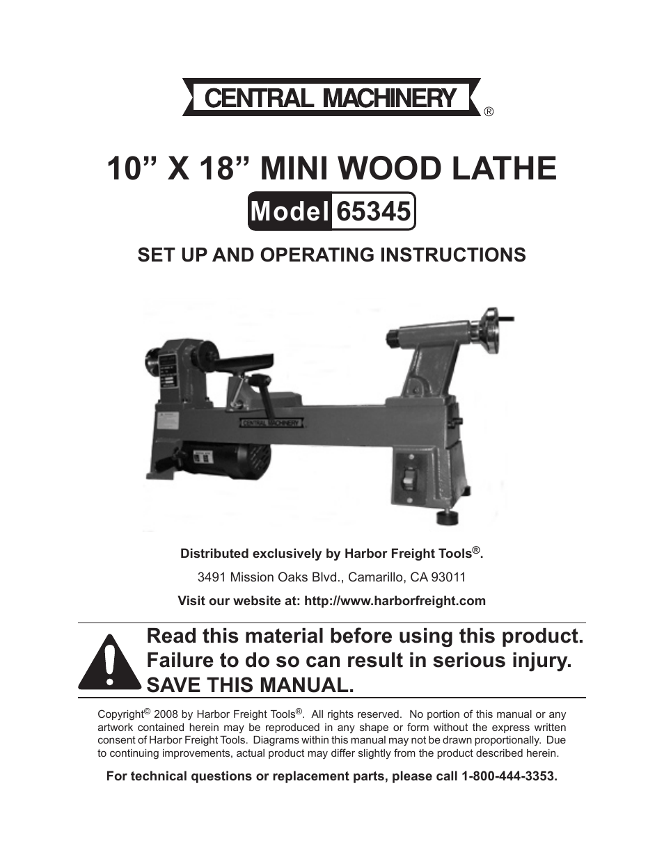 Central Machinery Wood Lathe Replacement Parts
