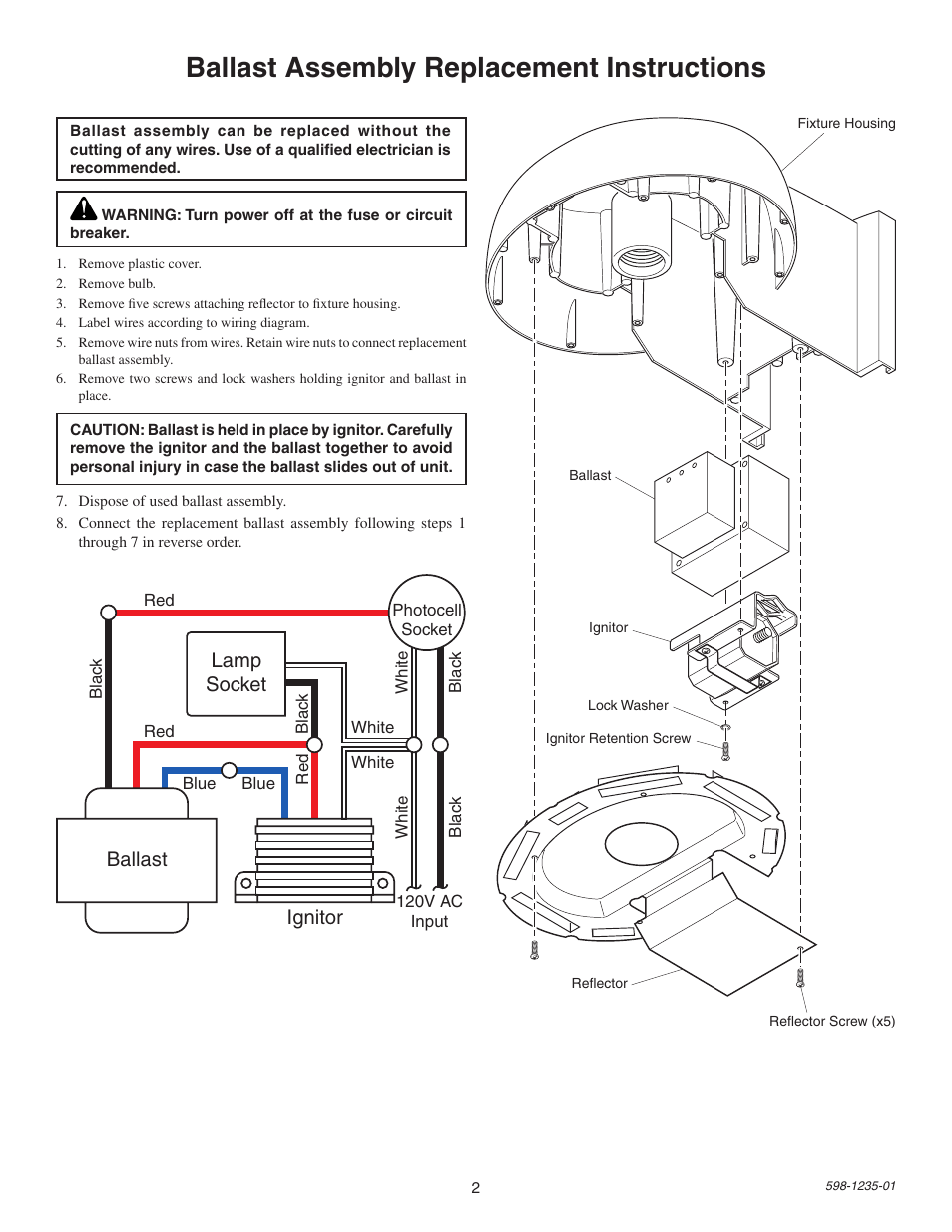 medium resolution of ballast assembly replacement instructions lamp socket ballast ignitor heath zenith sl 5679 user manual page 2 8
