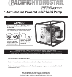 harbor freight tools pacific hydrostar 1 1 2 gasoline powered clear water pump 68328 user manual 24 pages [ 954 x 1235 Pixel ]